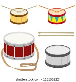 Drum, a set of realistic drums with drum sticks. Flat design, vector illustration, vector.