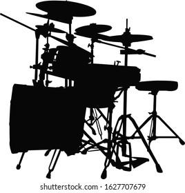 a drum set, silhouette vector
