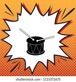 Drum sign. Vector. Comics style icon on pop-art background.