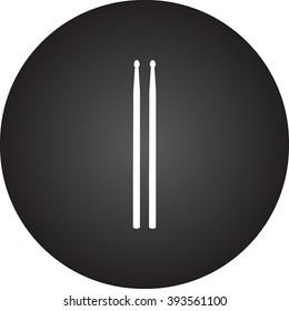 Drum sticks  simple icon on round background