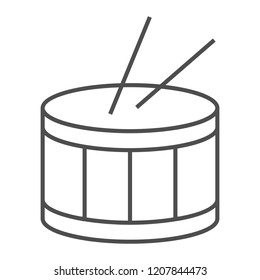 Drum thin line icon, music and beat, instrument sign, vector graphics, a linear pattern on a white background, eps 10.