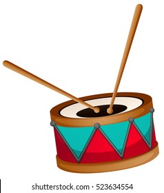 Drum with two sticks illustration