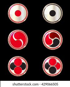 drumhead taiko drum vector set on the black background