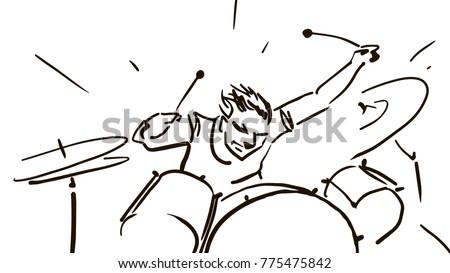 drummer behind drum set black white stock vector (royalty freedrummer behind the drum set black and white vector sketch simple drawing