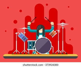Drummer Drum Icons Set Hard Rock Heavy Folk Music Background Concept Flat Vector Illustration