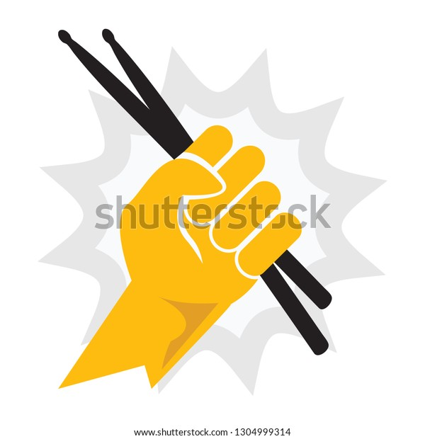 Drummer Fist Holding a Set of Drumsticks