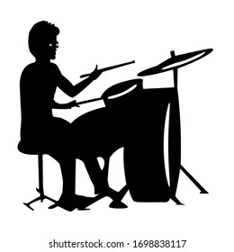 A drummer musician silhouette.  Drummer. Vector isolated. Jazz theme. A drummer musician.