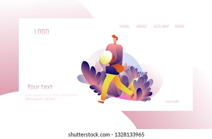 Drummer. Percussionist Gradient. Flat vector illustration. Website Template and Web Page