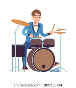 Drummer performance. Classic male musician character in blue dress plays on drum set, percussion instrument acoustic music show entertainment concept flat vector cartoon isolated on white illustration