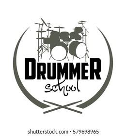 Drummer school logo with drums