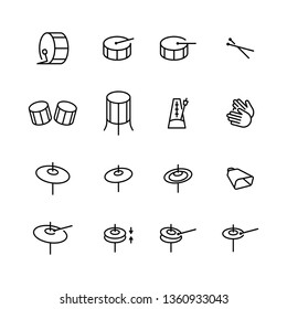 Drums icons set. Elements of drum kit or digital machine samples symbols. Bassdrum, snare, toms, cymbals, hi-hats and other. Editable stroke width.