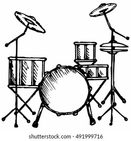 Drums. Isolated on white background. Vector, doodle style
