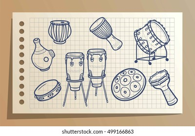 Drums. Musical instruments. Percussions.