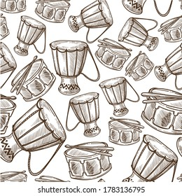 Drums national or ethnic music instrument, djembe or jembe seamless pattern. Wooden base with leather skin for percussion and acoustic. Culture, monochrome sketch outline, vector in flat style