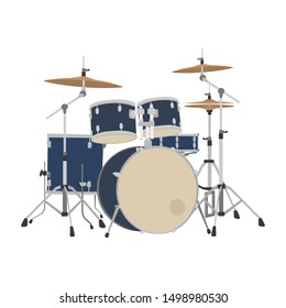 Drumset flat design vector. Illustration of drumset. Rock drumset.