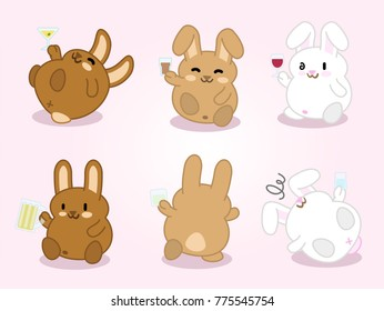 Drunk bunnies holding drinking glasses with alcoholic drinks (set of 6 kawaii illustrations)