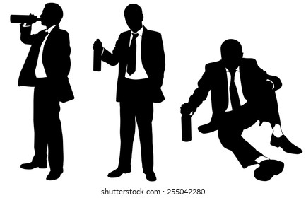drunk businessmen silhouettes isolated