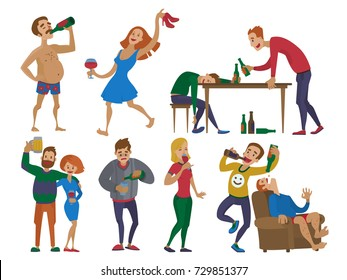 Drunk cartoon people alcoholic man and woman alcoholism drunken tipsy characters person vector illustration.
