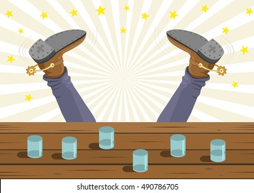 Drunk cowboy fell out of the bar. Vector cartoon background image