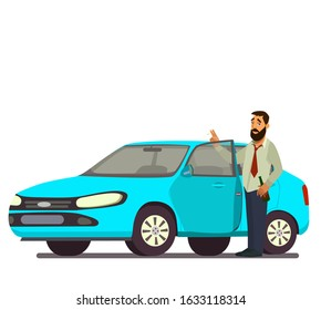 Drunk driver.Drunk man with bottle of alcohol, trying to get in the car. Vector illustration.
