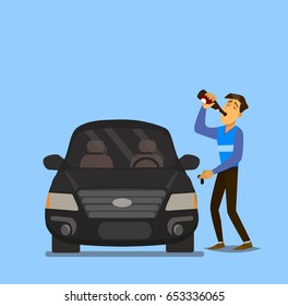Drunk driver.Drunk man with bottle of alcohol, trying to get in the car. Vector illustration in a flat style.