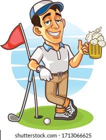 Drunk Golfer Holding A Glass of Beer Cartoon Mascot