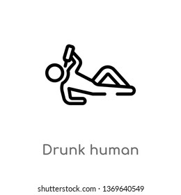 drunk human vector line icon. Simple element illustration. drunk human outline icon from feelings concept. Can be used for web and mobile