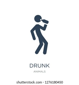 drunk icon vector on white background, drunk trendy filled icons from Animals collection, drunk vector illustration