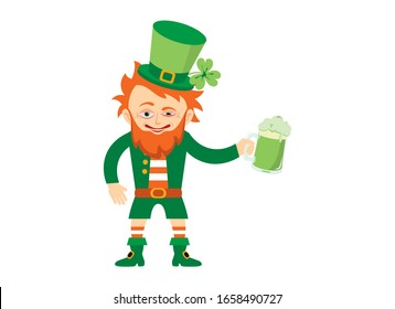 Drunk leprechaun vector. Leprechaun icon isolated on a white background. Funny leprechaun with beer vector. Saint Patrick's Day with drunken leprechaun vector
