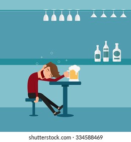 A drunk man asleep at the bar in the night club.Man relaxing in a bar. Cartoon Vector Illustration.