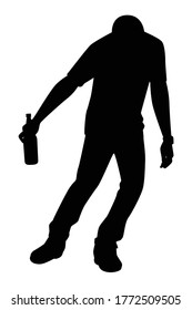 Drunk man with beer bottle silhouette vector