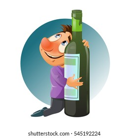 Drunk man hugging a bottle. Alcohol is harmful to your health. Cartoon styled vector illustration. Elements is grouped and divided into layers for easy edit. No transparent objects.