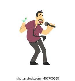 Drunk Man Singing In Karaoke Flat Isolated Simple Cartoon Style Vector Illustration On White Background