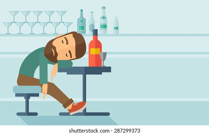A drunk man sitting fall asleep on the table with a bottle of beer inside the pub. Over drink concept. A contemporary style with pastel palette soft blue tinted background. Vector flat design