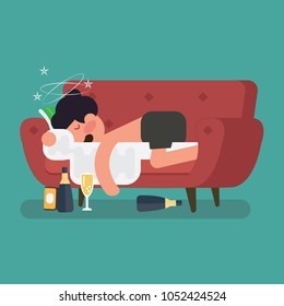 A drunk man sleep on the sofa with a bottle of beer