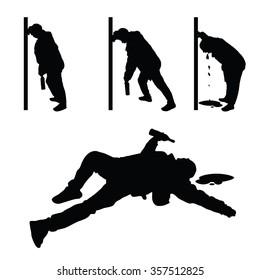 drunk man vector silhouette illustration