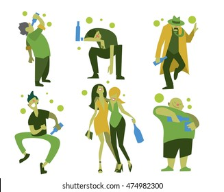 Drunk man and drunk woman on white background