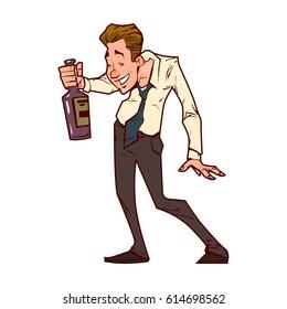 Drunk office worker, businessman, cartoon character.flat  illustration