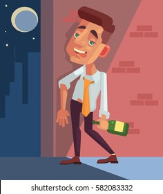 Drunk office worker businessman character. Vector flat cartoon illustration