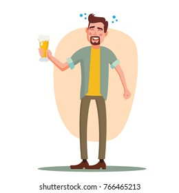 Drunk Office Worker Vector. Have Fun. Cheers Party Concept. Celebrating, Gesturing. Corporate Party. Isolated On White Cartoon Character Illustration