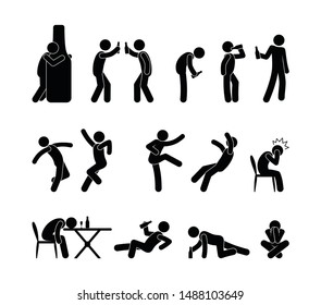 Drunk people in different situations. Cocktail party people drink alcohol. A man drinks wine, beer. Sticks figure pictogram alcoholism.