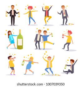 Drunk people. Set. Vector. Cartoon. Isolated art on white background. Flat