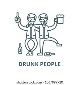 Drunk people,drunk party,two men drinking line icon, vector. Drunk people,drunk party,two men drinking outline sign, concept symbol, flat illustration