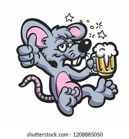 Drunk rat with beer vector illustration