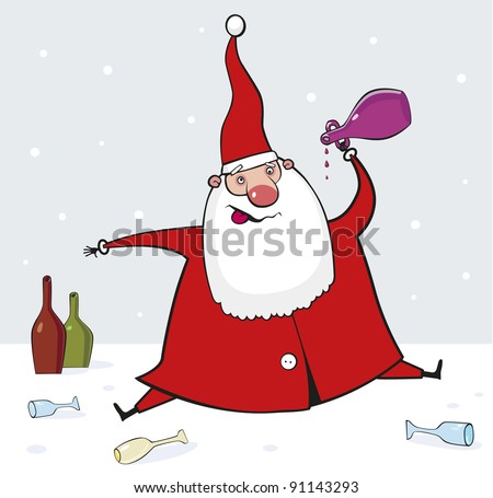 Drunk Santa Claus Stock Vector Royalty Free 91143293 Shutterstock