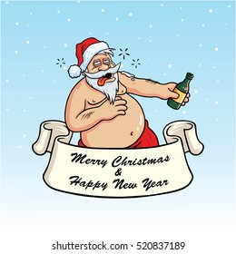 Drunk Santa Claus Drinking Booze. Christmas Greeting Card Vector Illustration