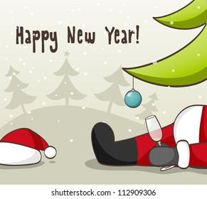Drunk Santa Claus . EPS 10 vector illustration for Christmas design.
