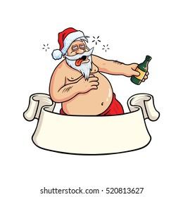 Drunk Santa Claus Holding Bottle Hangover. Christmas Greeting Card Vector Illustration