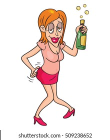 Drunk woman with bottle of alcohol, vector illustration cartoon