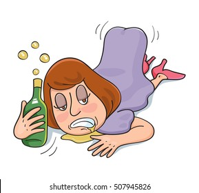 Drunk woman lie down sleeping, vector illustration cartoon